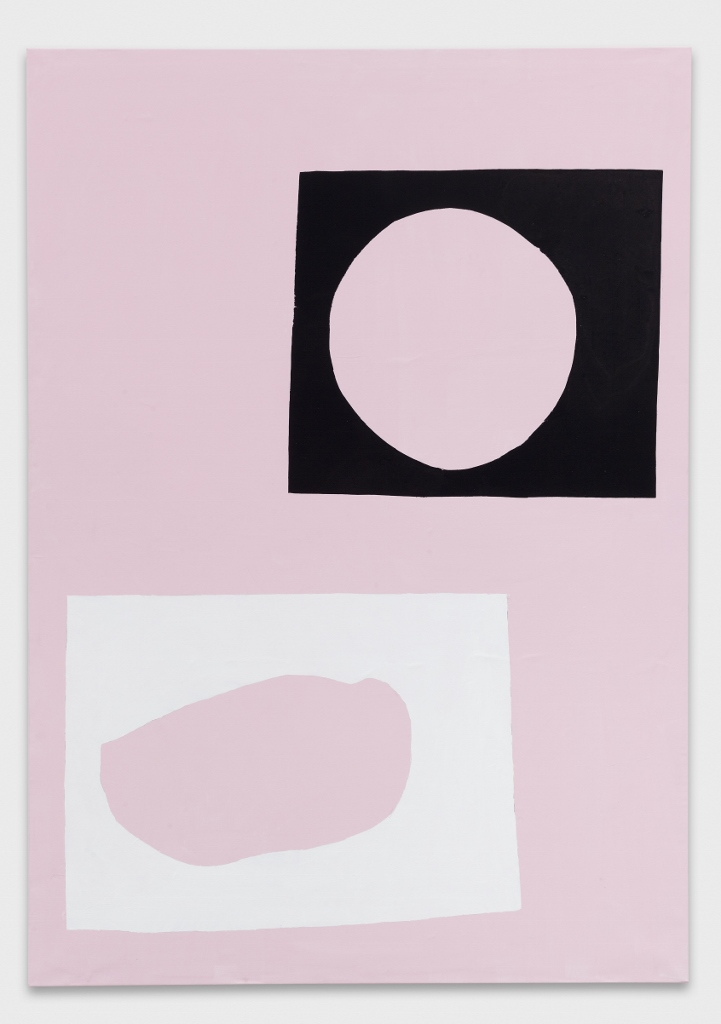 <p>Linus Bill + Adrien Horni, <em>P95</em>, 2013, acrylic and silkscreen on canvas, 240×170 cm</p>