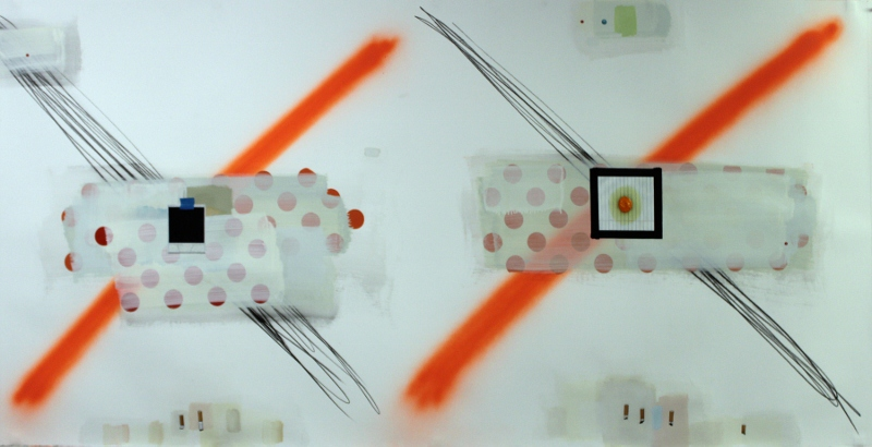 <p>Craig Drennen, <em>Double Painter 2</em>, 2013, graphite, acrylic, oil, alkyd on paper, 101.5cm x 203cm.</p>