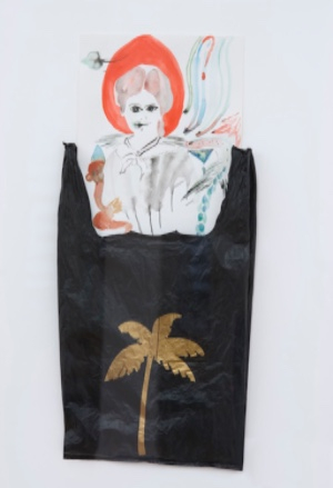 <p>Pauline Curnier Jardin, <em>A portrait of Emily Dickinson (they loved my bouquets more than my poems)</em>, 2012, drawing and plastic bag</p>