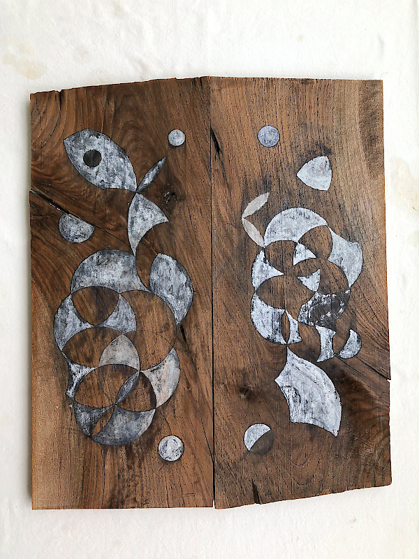 <p>Mauricio Limón de León, <em>Symbols of enjoyment</em>, 2018, Potassium Alum, rabbit glue on wood,   45 x 54 cm.</p>